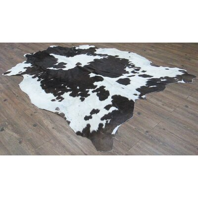 Whately Hand-Woven Cowhide Black/White Area Rug