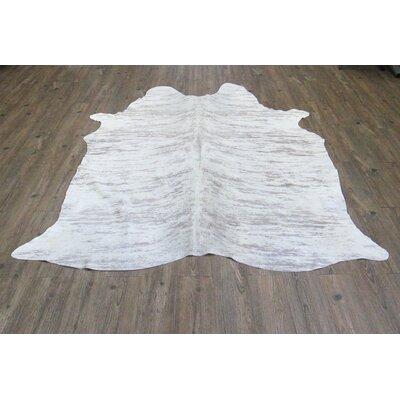 Shiela Hand-Woven Cowhide White Area Rug