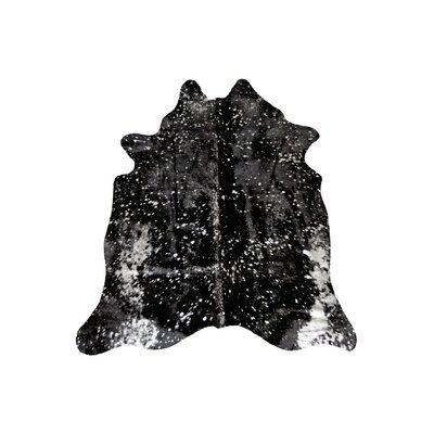 Alverson Hand Woven Cowhide Black Area Rug
