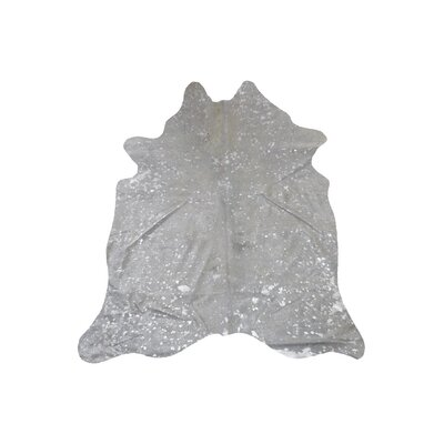 Alverson Hand Woven Cowhide Silver Area Rug