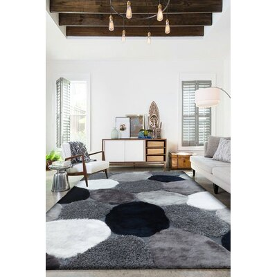 Shelldrake Shag Hand Tufted Gray/Navy Area Rug Rug Size: Rectangle 76 x 103