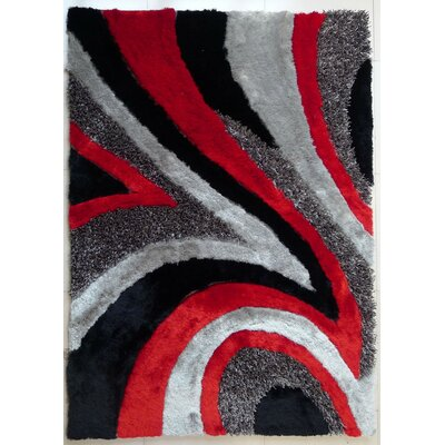 Rhynes Hand-Tufted Gray/Red Area Rug
