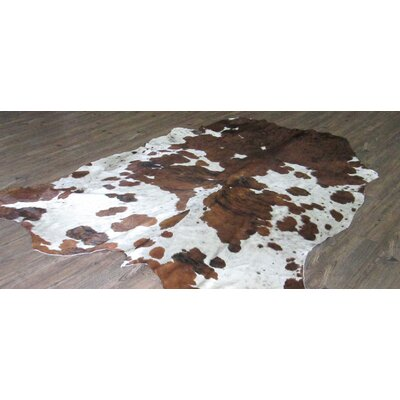 Lynnfield Hand Woven Cowhide Brown/White White Area Rug