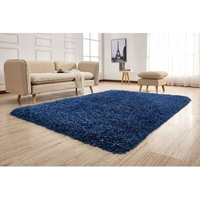 Pawlak Hand-Tufted Navy Area Rug Rug Size: Rectangle 76 x 103
