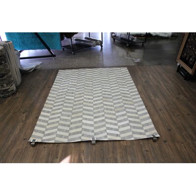 One-of-a-Kind Grieco Hand-Woven Cowhide Gray Area Rug