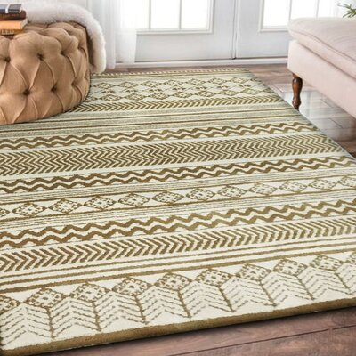 Byron Hand-Tufted Beige/Gray Indoor Area Rug Rug Size: Rectangle 76 x 103