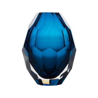 Warner Solid Hand Blown Art Glass Table Vase Color: Blue 1DA35E2850844F70A9276387E30DB1F3
