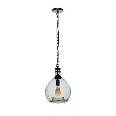 Castillon 1-Light Globe Pendant Shade Color: Blue, Size: 16.92 H x 11.02 W x 11.02 D
