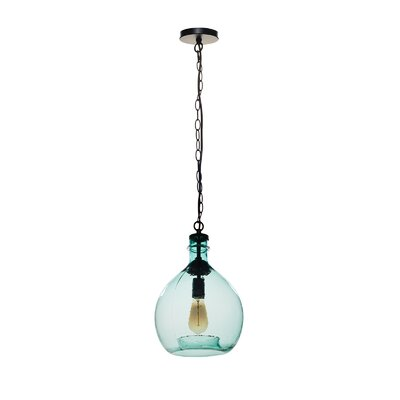 Castillon 1-Light Globe Pendant Shade Color: Green, Size: 16.92 H x 11.02 W x 11.02 D