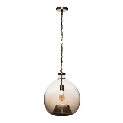 Cerda 1-Light Globe Pendant Shade Color: Brown, Size: 17.72 H x 15.75 W x 15.75 D