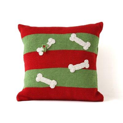 Striped Dog Bone Christmas 100% Cotton Throw Pillow