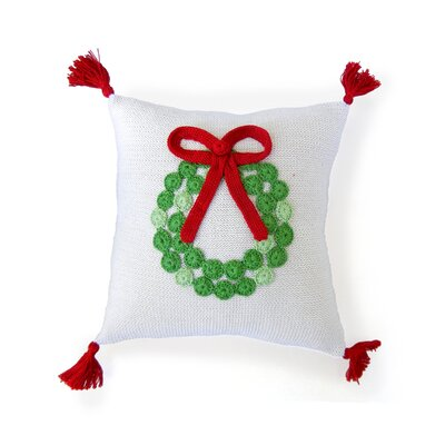 Wreath Christmas 100% Cotton Throw Pillow