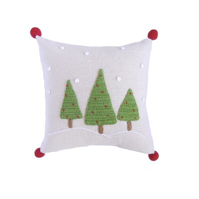3 Christmas Tree with Snow 100% Cotton Pillow