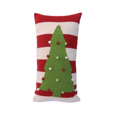 Stripe Christmas Tree 100% Cotton Lumbar Pillow