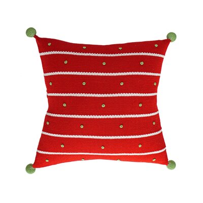 French Knot Christmas 100% Cotton Throw Pillow Color: Red