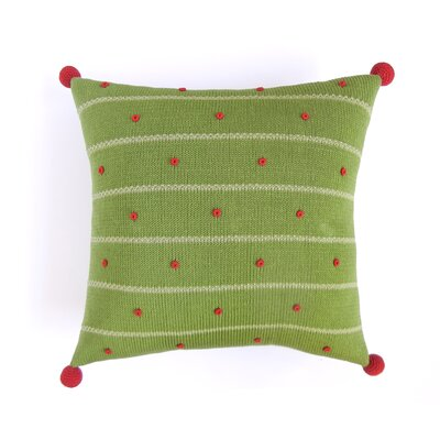 French Knot Christmas 100% Cotton Throw Pillow Color: Green