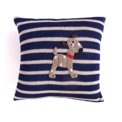 Sheehan Striped Spotted Dog 100% Cotton Pillow