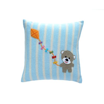 Strout Bear with Kite 100% Cotton Throw Pillow
