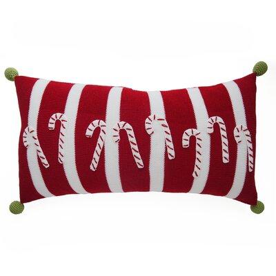 Candy Cane Stripes Christmas 100% Cotton Lumbar Pillow
