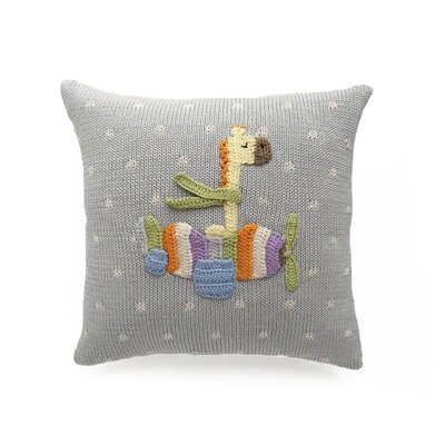 Taber Giraffe in Plane 100% Cotton Throw Pillow