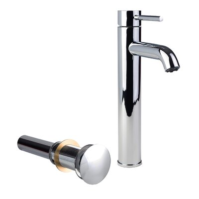 European Vessel Single Hole Lever Handle Bathroom Faucet with Drain Assembly Finish: Chrome