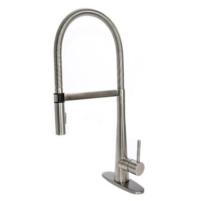 Gourmet Spring Pull Down Single Handle Kitchen Faucet with Deck Plate