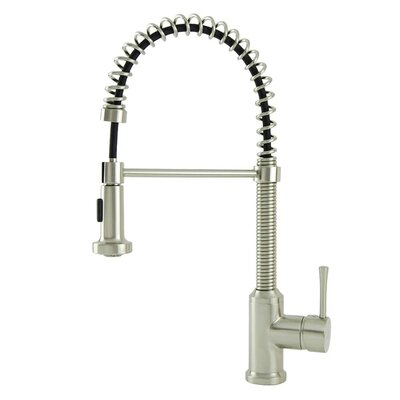 Spring Coil Flat Spray Head Pull Down Single Handle Kitchen Faucet Finish: Brushed Nickel