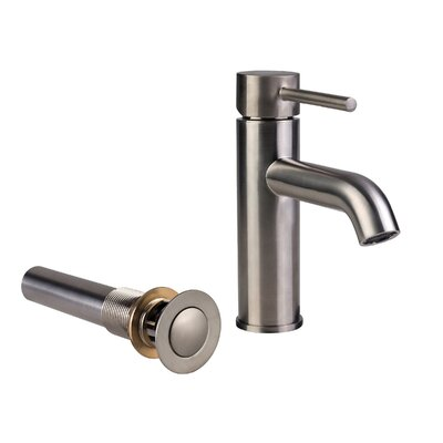 European Single Hole Lever Handle Bathroom Faucet with Drain Assembly Finish: Brushed Nickel