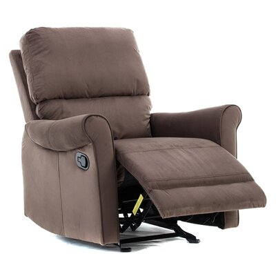 Meeks Modern Roll Arm Glider Manual Recliner Upholstery: Chocolate