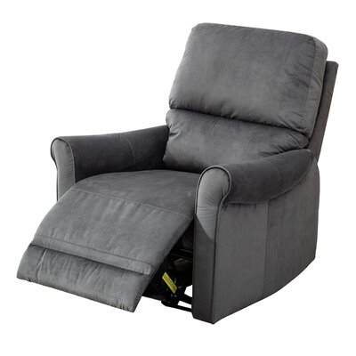 Meeks Modern Roll Arm Glider Manual Recliner Upholstery: Blue