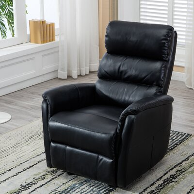 Bhoyar Glider Manual Recliner with Super Comfy Gliding Track Upholstery: Black