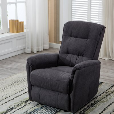 Mokade Manual Recliner with Overstuffed Backrest Upholstery: Gray