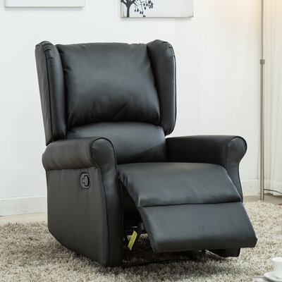 Corson Wingback Roll Arm Glider Manual Recliner Upholstery: Black