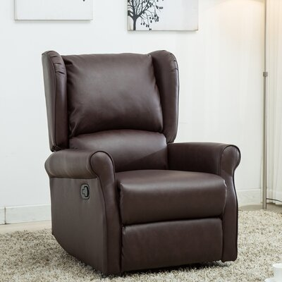 Corson Wingback Roll Arm Glider Manual Recliner Upholstery: Red/Brown