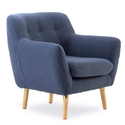 Sowder Well Construction Frame Soft Fabric Armchair to Touch Upholstery: Blue