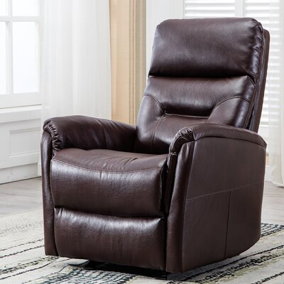 Godard Overstuffed Backrest Glider Manual Recliner Upholstery: Brown