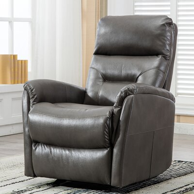 Godard Overstuffed Backrest Glider Manual Recliner Upholstery: Gray