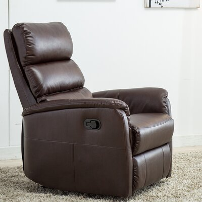 Bhoyar Glider Manual Recliner with Super Comfy Gliding Track Upholstery: Brown