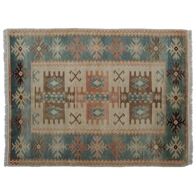 Moyne Faded Hand-Knotted Wool Aqua/Brown/Peach Area Rug