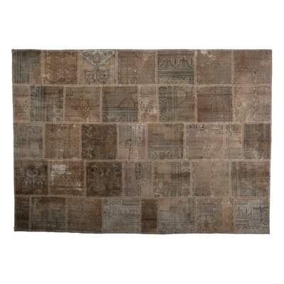 Karin Patchwork Hand-Knotted Wool Gray/Brown Area Rug