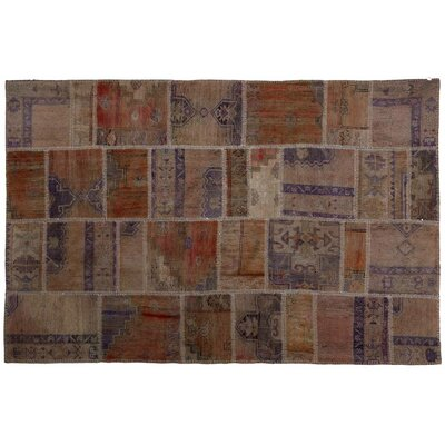 Karin Patchwork Hand-Knotted Wool Orange/Brown Area Rug