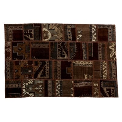 Karin Patchwork Hand-Knotted Wool Brown Area Rug