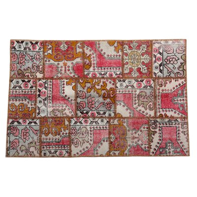 Karin Patchwork Hand-Knotted Wool Pink Area Rug