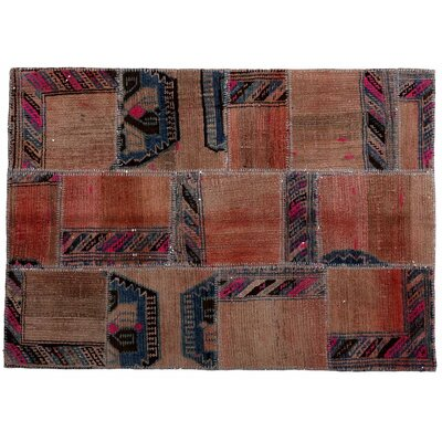 Karin Patchwork Hand-Knotted Wool Brown/Red Area Rug