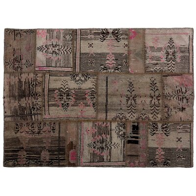 Karin Patchwork Hand-Knotted Wool Pink/Brown Area Rug