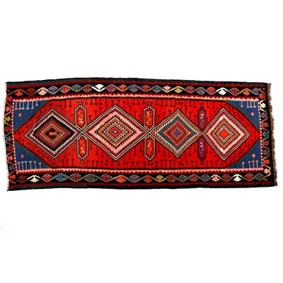 Mylinda Handmade Kilim Wool Red/Blue Area Rug