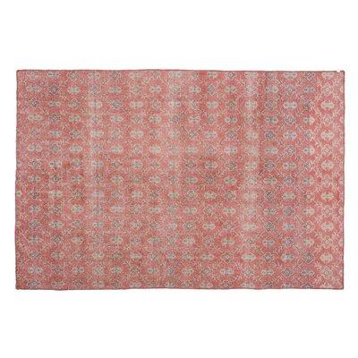 Kattie Vintage Hand-Knotted Wool Pink Area Rug