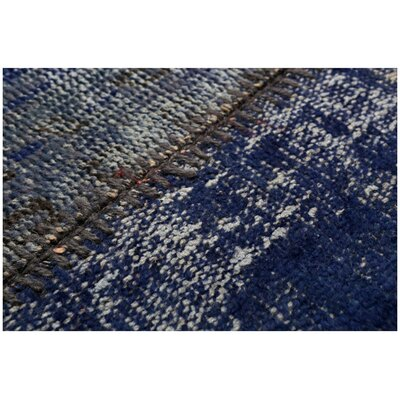 Kayla Patchwork Hand-Knotted Wool Blue Area Rug