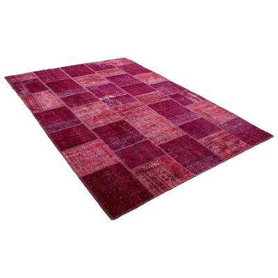 Kayla Patchwork Hand-Knotted Wool Pink/Red Area Rug
