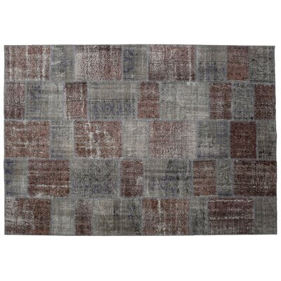 Kayla Patchwork Hand-Knotted Wool Brown/Gray Area Rug